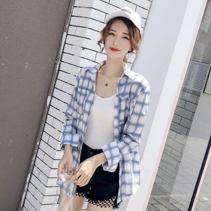 小香風 短袖T恤 時尚穿搭 韓版 時尚格子襯衫女設計感小眾長袖小清新襯衣外套潮