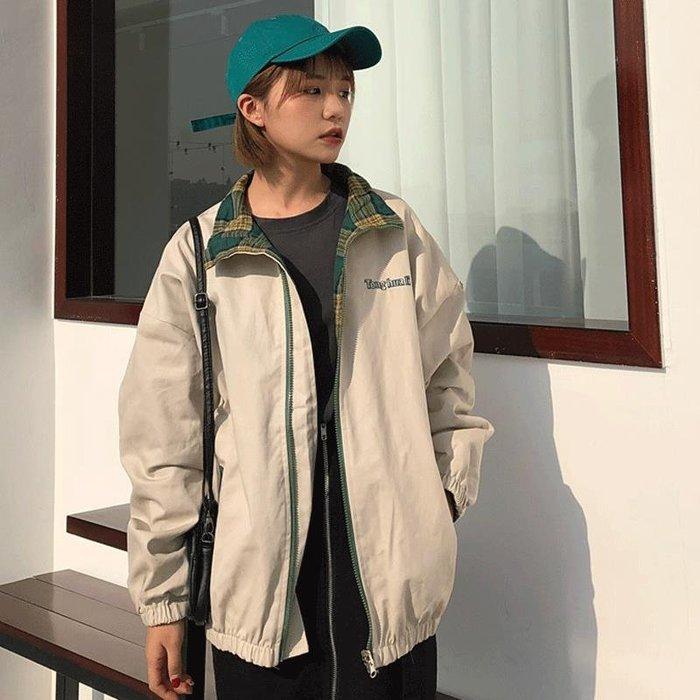 小香風 短袖T恤 時尚穿搭 兩面穿學生外套女 韓版 寬松bf原宿風男女情侶ins棒球服潮