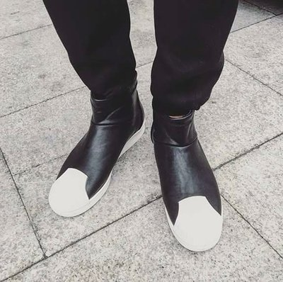 實體拍攝 韓國全素面 貝殼鞋 男 高統 皮革