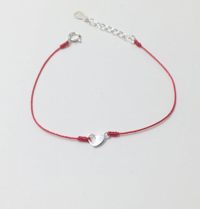 [Le Bonheur Line] 幸福線 手工/925純銀 半開愛心 愛開心 手鍊 redline 飾品 紅線 單鑽