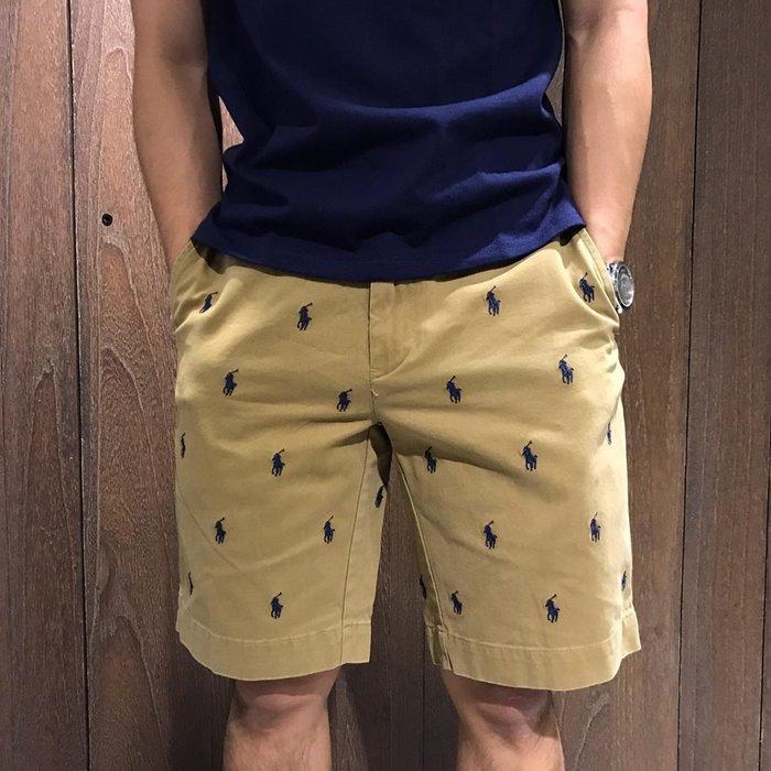 美國百分百【Ralph Lauren】短褲 男 休閒褲 五分褲 褲子 Polo 小馬 滿版 RL 駝色 深藍馬 A774