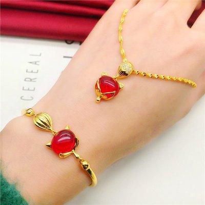 送禮佳品 新款仿金越南沙金首飾 紅寶石狐貍手鏈女久不掉色 鍍金歐幣手飾品