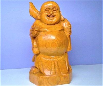 @居士林@彌勒佛-檜木木雕(立姿)財神(中)尺寸:高15公分.面寬9公分.長8公分