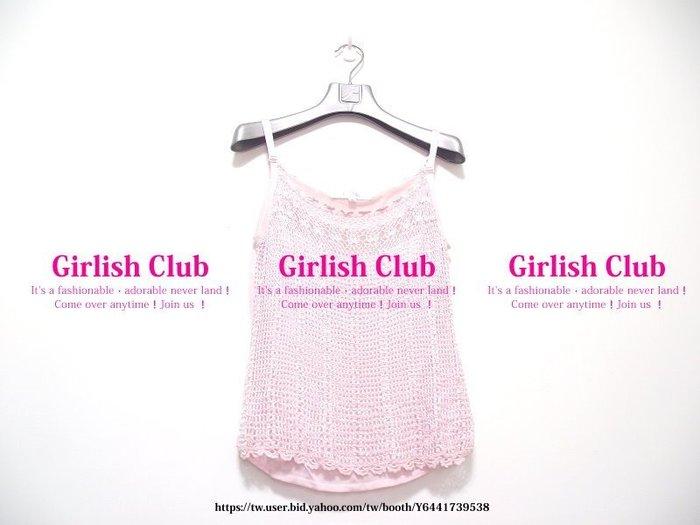 【Girlish Club】專櫃KiKi粉色細肩帶內搭短上衣40(m833)ck韓國sz zara洋裝iroo六一元起標