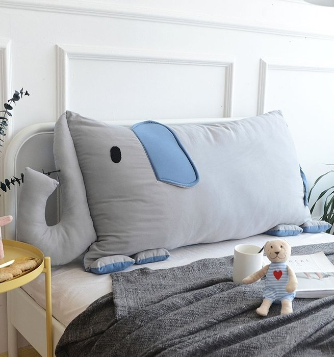 【Uluru】北歐簡約 卡通大象長方造型靠枕 抱枕 北歐清新 靠墊 客廳 沙發 臥室 動物 兒童房 傢飾軟件 配件