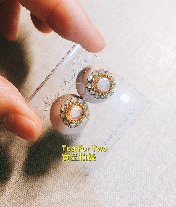 出清特賣,百元系列,韓國正品(現貨NO2)~~奶茶色,花朵後大圓耳環