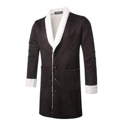 『潮范』 WS11 新款外貿WISH圓領3D鏤空長大衣 男士拼色風衣外套 鋪棉外套NRG2630