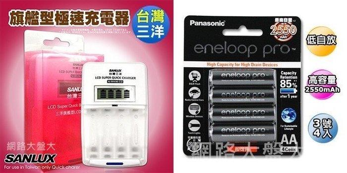 #網路大盤大#三洋LCD液晶極速充(放)電器SYNC-LS01+國際eneloop3號2550或4號950*4顆可任選