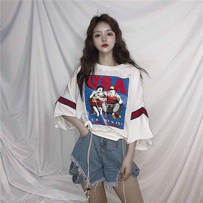 韓版原宿BF風卡通印花顯瘦百搭拼接寬松學生 短袖T恤女
