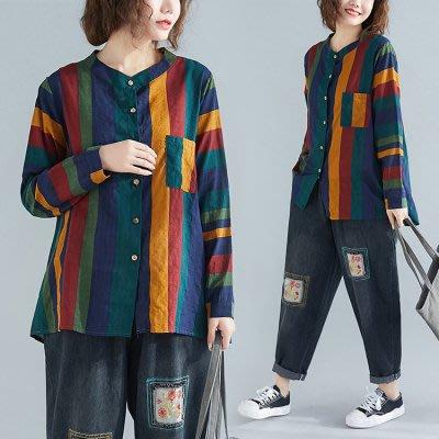 大碼女裝 長袖棉麻襯衫上衣2979#復古條紋大碼開衫休閑襯衫N601C