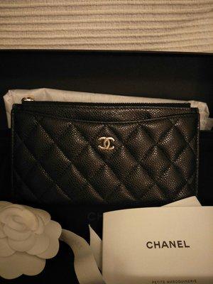 (售出)香奈兒Chanel 三卡扁長夾 經典淡金扣雙c菱格紋 黑色荔枝皮