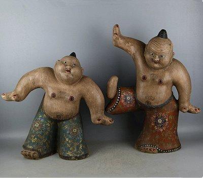 ㊣三顧茅廬㊣ 唐三彩雕塑瓷手工彩繪摔跤俑一對 出土文物古瓷器 古玩古董收藏
