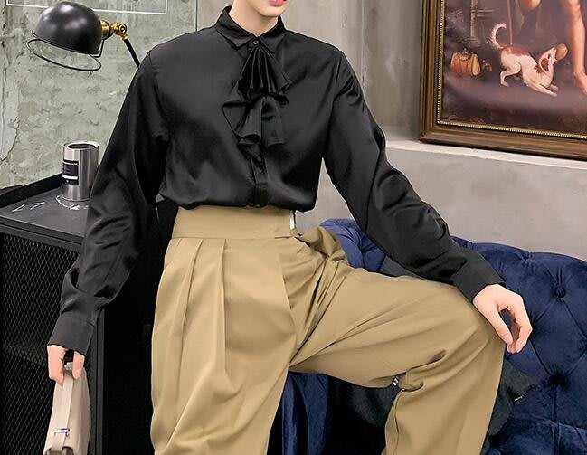 FINDSENSE 品牌 2019 春季 新款 寬鬆  潮流  個性 社會 男青年長袖 可拆領 免燙 襯衫 復古 氣質