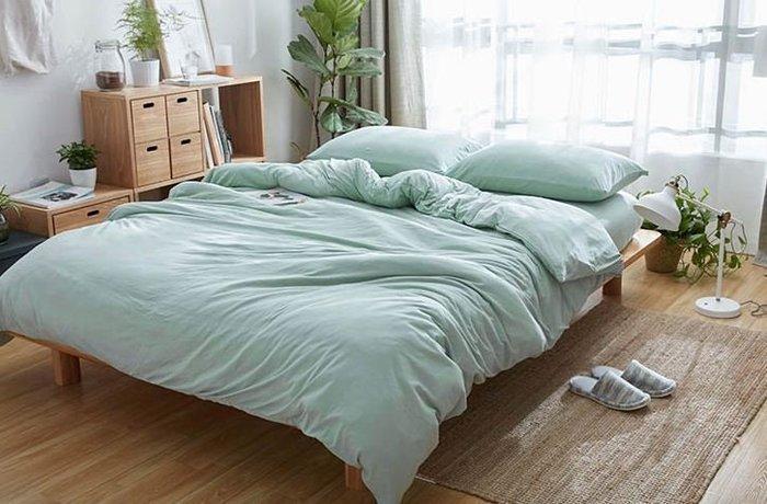純棉親膚裸睡專用床包組(精靈綠) 床包 床單 枕頭套 枕頭 床 棉被 被套 寢具 裸睡 純棉 床包組 拖鞋 室內拖鞋