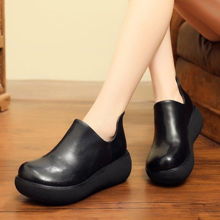 *菇涼家*019秋冬款復古真皮厚底坡跟单鞋防水台軟底牛皮女鞋大頭深口皮鞋