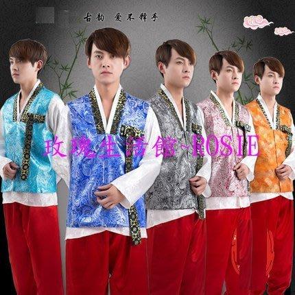 【玫瑰生活館】~ 傳統韓服男士3件式套裝: 男韓服均碼,7色