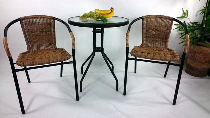 供小瑪下標用[兄弟牌戶外休閒傢俱]PE藤椅一桌二椅組~黑色庭院60CM圓桌+ 24張PE藤椅/組(黑色餐椅休閒椅直購免運費