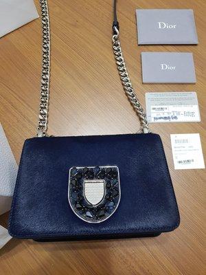 Dior 真品 正品 全配 限量特殊款 馬毛 鑽 鏈包 小包