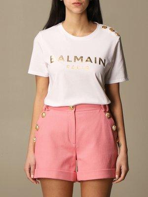 【折扣預購】21春夏正品Balmain 燙金色logo短袖T恤 鈕扣裝飾 棉T shirt上衣 白色