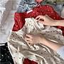 襯衫  設計感喇叭袖深V領印花雪紡上衣 艾爾莎【TAE8195】