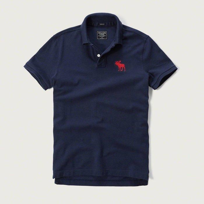 美國百分百【Abercrombie & Fitch】Polo衫 AF 短袖 上衣 大麋鹿 素面 深藍 紅鹿 C295