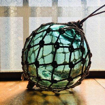 (售出)綠色大顆結繩玻璃浮球 直徑約17~18公分
