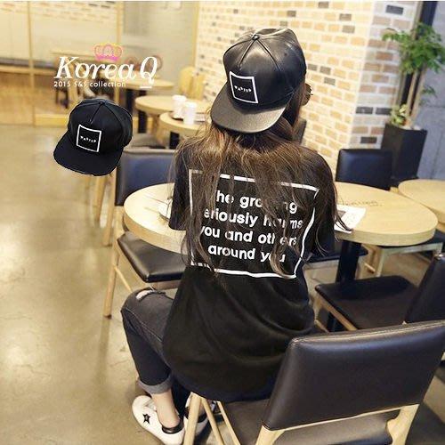 棒球帽~ 方框字母皮革嘻哈棒球帽