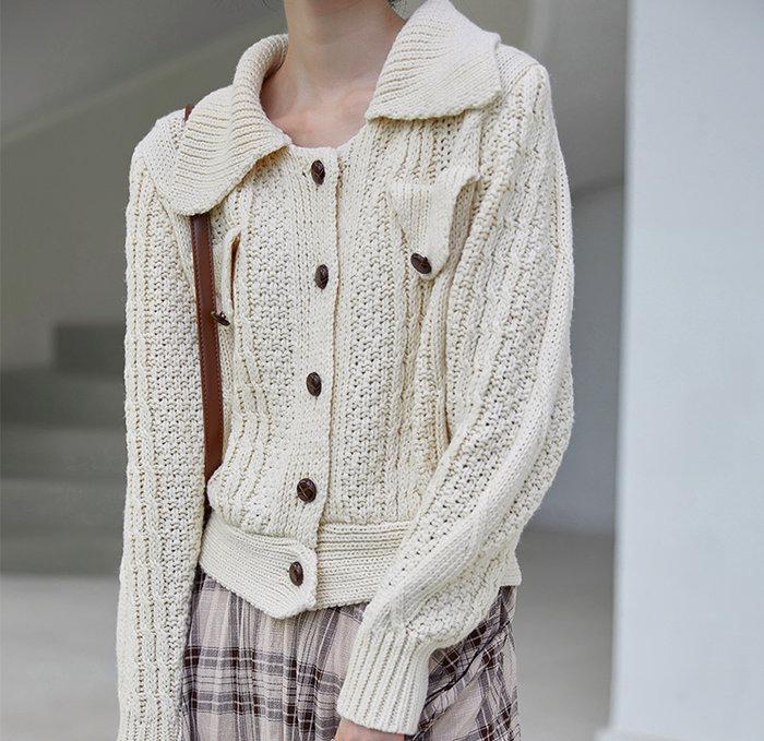 SeyeS  古著時尚英倫復古自然風基本款翻領麻花開襟毛線外套
