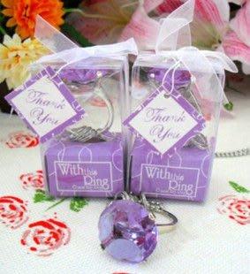 【氣球批發廣場】 歐美婚禮小物系列/進口歐美/小鑽戒 鑰匙圈 10元(含緞帶包裝盒) 團購 婚禮小物