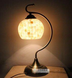 【優上精品】天然貝殼燈6寸馬賽克貝殼臺燈床頭燈臥室燈小臺燈地中海燈具(Z-P3266)