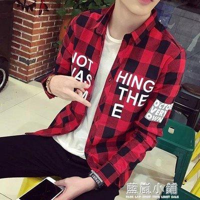 學生紅黑大格子襯衫男長袖修身帥氣寸衫衣服男士襯衣韓版潮流外套