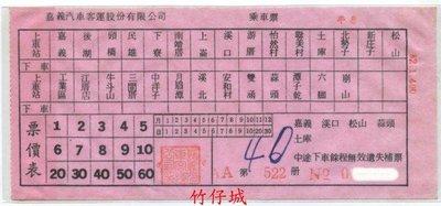【竹仔城-嘉義客運公車票】通用乘車票.半票-82.1--已經失效.純收藏