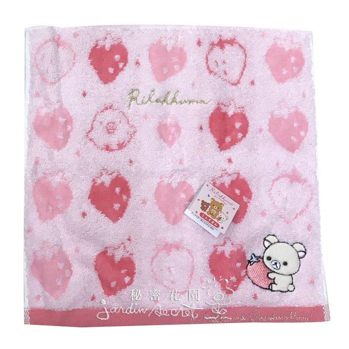 手帕--日本SAN-X拉拉熊牛奶妹草莓季純棉刺繡手帕--秘密花園
