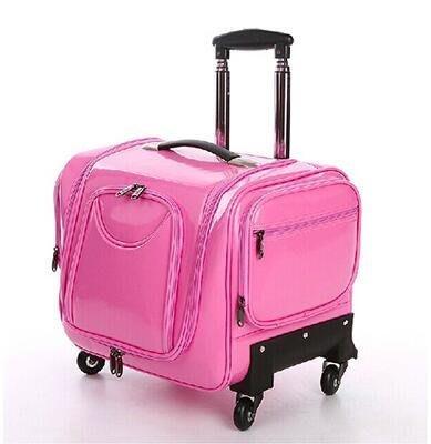 【優上】化妝箱拉桿專業美容美髮美甲紋繡工具箱多層萬向輪彩妝化妝師粉色PU