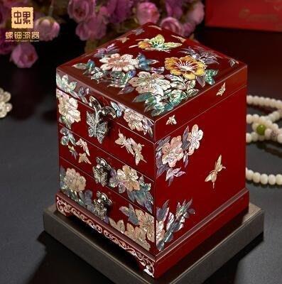 【優上】首飾盒公主歐式韓國實木質珠寶飾品盒宮廷復古「紅色」