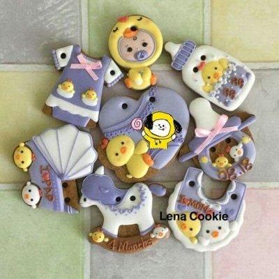 可接急單 收涎餅乾 雞寶寶系列 8片 女寶寶  紫色系 糖霜餅乾 生日禮物 手工餅乾 不挑款(Lena Cookie)