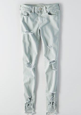 Maple麋鹿小舖 American Eagle * AE 淺綠色刷破貼身長褲JEGGING * (現貨4R/6R號)