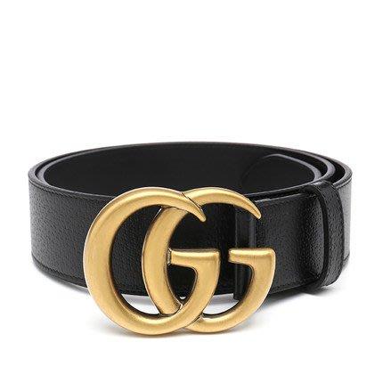 美國百分百【全新真品】Gucci 真皮 皮帶 腰帶 女款 休閒 專櫃配件 大LOGO 黃銅釦 黑色 K333
