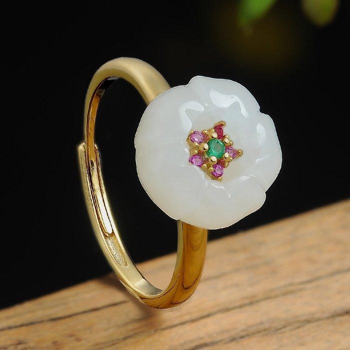 925銀  鑲嵌 天然 玉石 白玉  花戒指  正品  和闐玉 花朵銀戒指環15可伸縮款