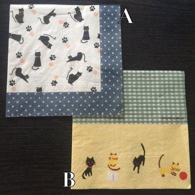 ❤Lika小舖❤ 蝶谷巴特 餐巾紙 手工藝品 蝶古巴特 小貓咪 黑貓 格子 點點