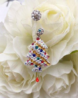 ~~小靖的店~~A0257 316L西德鋼 滿鑽可愛聖誕樹 C針 單隻特價528元