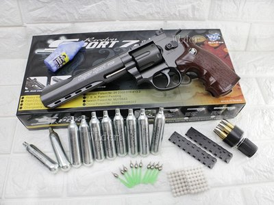 [01] WG 6吋 左輪 手槍 CO2直壓槍 散彈版 + 12g CO2小鋼瓶 (左輪槍6吋SP 702直壓槍BB槍