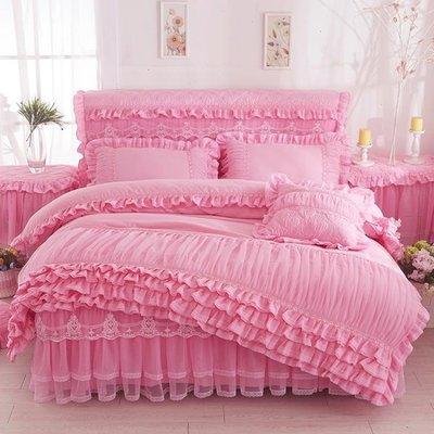 床包組 韓版公主純色蕾絲床裙床罩式四件套磨毛花邊被套床套多件1.5/1.8m