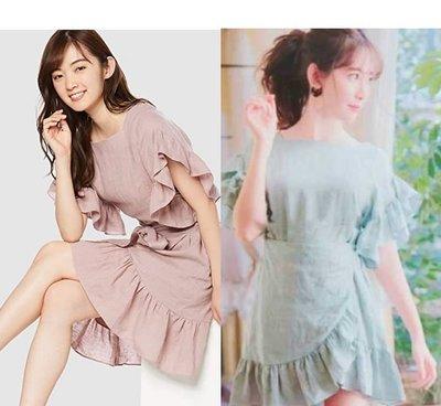 【WildLady】 日本超美亞麻荷葉花邊袖不規則連身裙 洋裝 snide ray