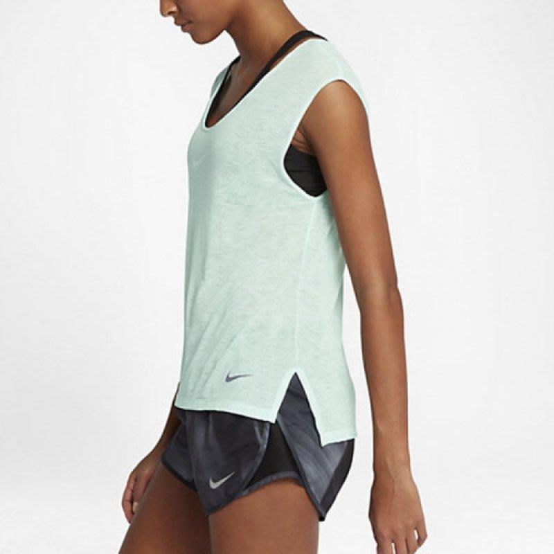 NIKE 女款 輕量 透氣 網眼 涼感 吸排 運動罩衫 短袖上衣 短袖T恤-淡綠色(最後一件)