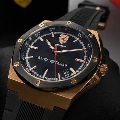 FERRARI法拉利男女通用錶,編號FE00017,44mm玫瑰金八角形精鋼錶殼,黑色簡約, 運動錶面,深黑色矽膠錶帶
