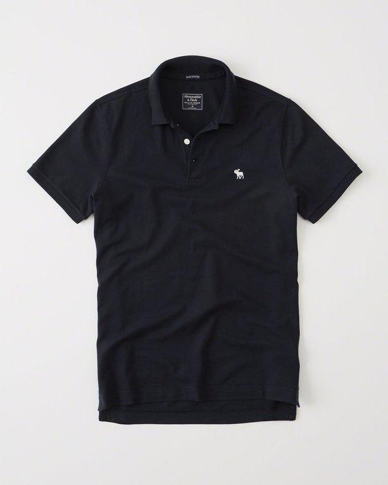 美國百分百【Abercrombie & Fitch】Polo衫 AF 短袖 麋鹿 男 素面 深藍 S M號 I063