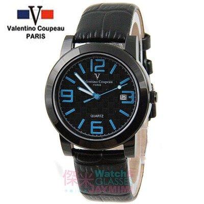 【JAYMIMI傑米】Valentino范倫鐵諾古柏皮帶手腕錶-格紋法式浪漫主義彩色刻度藍水晶玻璃 黑藍 特價 1450