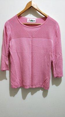 ~ 衣櫃~3DIMENSION 粉紅色波浪邊素色百搭針織上衣 修身顯瘦棉質長袖上衣 文藝清新氣質 舒適亞麻U領上衣