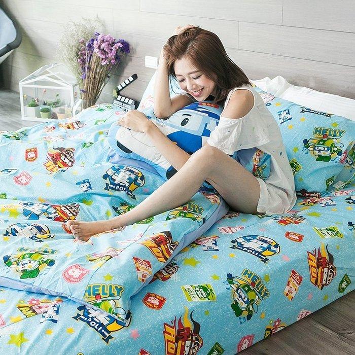 床包 / 雙人【波力救援小英雄-藍】含兩枕套,磨毛多工法處理,韓國可愛卡通,戀家小舖台灣製ABF201